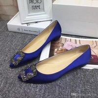 Free Ship 2019 Ladies Silk Satins Pillage Pointed Diamond Shoes Low Heels Rhinestone Black Dimond Pumps Wedding Dress Shoes Blue Colour