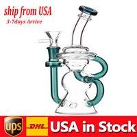 INS TOCK USA Cubierto de vidrio Bong Fumar Tubos de vidrio 10.5inchs Reciclador altos DAB Rigs Agua Bongs con 14 mm Hombre Fumar Tazón barato Enviar rápido
