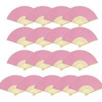 Festa do partido dobrável fãs de papel branco mão fã de bambu para dançar (15 rosa)