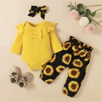 Men's Tracksuits 2021 Kid Toddler Girls Clothes Set Long Sleeve Romper Floral Printed Pattern Pants Headdress Baby Clothing