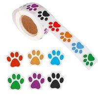 1Roll colorido impreso pegatinas perro gato oso etiquetas pegatinas como etiqueta de recompensa Papelería Profesor de papelería para niños