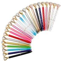 Ballpoint Pens Student Pen With Large Diamond Crystal Ballpoint Pens School Office Promotion Gift Metal Gem Pens 26 Colors GYLA40