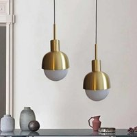 Pendant Lamps Modern Led Metal Lights Wrought Iron Glass Round Ball Brass Rod Hanging Lamp For Living Roomcafekitchen Nordic Lighting