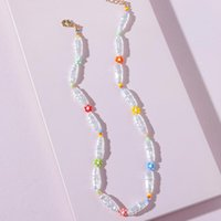 Chokers 2021 Summer Arrival Imitation Pearl Beaded Strand Necklace Trendy Jewelry Women's Short