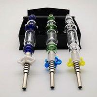 14mm Ortak Cam Nector Toplayıcı Kitleri Titanyum İpucu Ile Mini Sigara Borular Yeşil Mavi Dab Petrol Kulesi Saman Nektör Kollektörleri NC10