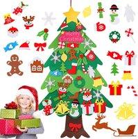 DIY Noel ağacı keçe çocuklar için set, 34 adet süsler ile 34 adet ft Noel ağacı DIY ev