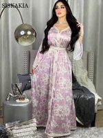 Siskakia Langarm Maxi Kleid Für Frauen Süßes Blau Rosa Dubai Abaya Mode Ribbon Trim V-Ausschnitt Jalabiya Muslim Herbst Neue 210309