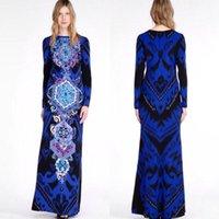 فساتين عادية الأوروبية والأمريكية كبيرة سوبر جميلة مطبوعة فستان طويل أنيق عميق الأزرق التطهير الإضافي