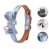 Cat Collars & Leads Bowtie Collar Charm Safety Break Away Nylon Necktie For Cats Bell Leather Belt Tie Chihuahua Collier Chat