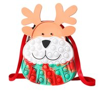 Fidget Toys Christmas Elk Messenger Bag Silicone Push Bubble Sensory Cross Bags Reliever Stress Adult Children Autism Antistress Toy for Kids Gift