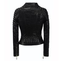 Europe Lady Short Jackets Women Slim Shoulder Pad Locomotive Cowboy Coats Jacket Turtleneck Motorcycle Outerwear Plus Size S-6XL