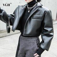 Kadın Ceketler VGH Rahat Patchwork Cep Kısa Ceket Kadınlar Için Yaka Uzun Kollu Siyah PU Deri Kalın Kadın Moda Giyim