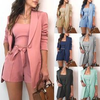 Women Clothing Blazer Three Piece Sets Sexy Slash Neck Office Long Sleeve Suit+Vest Top+Shorts Set Pink Blazers cny2507