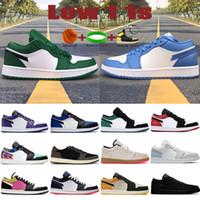 Yeni Düşük 1 1 S Erkek Basketbol Ayakkabıları OG SP Travis Scotts UNC UNC Kraliyet Toe Çam Yeşil Paris Üçlü Siyah Erkek Kadın Sneakers