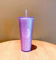 Summer Starbucks Dream purple durian laser Straw cup Tumbler high-capacity 710ML Mermaid plastic cold water coffee Mug gift