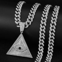 Pendant Necklaces Men's Cuban Link Chain Necklace Triangle Iced Out Crystal Vintage Luxury Punk Hip-Hop Style Silver Color For Women