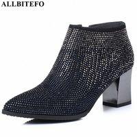 Allbitefo Natürliche Echtes Leder Frauen Stiefel Wasser Bohrer Dekoration Bequeme Knöchelstiefel Herbst Winter Mode A3CB #