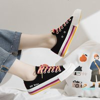 Beier rainbow canvas shoes women's 2019 fashion shoes autumn new Korean version small white shoes student's all-in-one tennis red board