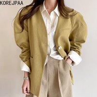 Vestes Femmes Korejpaa Femme Veste 2021 Spring Automne Coréen Chic simple Retro Col V one Bouton Poches Lâche Polyatile Hockes Coa Coa