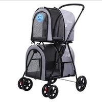 Dog Car Seat Covers Lightly Foldable Double- Layers Pet Stroller Cart Large Space Four Wheels Detachable Carrier Products