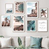 Peintures Tropical Beach Sea Waves Ship Palm Diotes Art mural Toile peinture Nordic Posters et impressions Images pour le salon décor