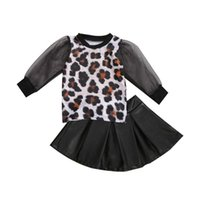 Clothing Sets Kids Baby Two Piece Suit Leopard Puff Sleeve See Through Mesh Pullover Top+A-line Leather Pleated Skirt Outfits