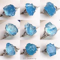 Cluster Rings Natural Ocean Blue Aquamarine Stone Ring For Women Men Silver Healing Reiki Crystal Luck Beads Adjustable Jewelry