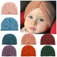Caps & Hats Simple Knitted Baby Hat Turban Winter Warm Boys Girls Bonnet Crochet Kids Children Cap Beanies