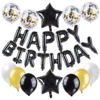 파티 장식 25 PC 풍선 전체 행복 편지 심장 별 색종이 및 알루미늄 호일 라텍스 풍선 세트 생일 공급 700 K2 6Auk Semg