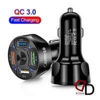 4 USB Car Charger 3.5A QC3.0 12-32V Car-Adapter Socket Quick Charging in-Car Phones Fast-Charger With LED Light For IPhone Samsung Xiaomi