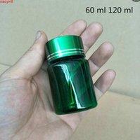60ml 120ml verde azul marrom pílula plástica garrafas de embalagem em pó esvaziando recipientes cosméticos 50 pcs frete grátis