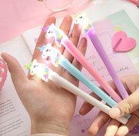 Gel Pens 0.5mm Night Light Rainbow Lovely Unicorn Modeling Creative Cartoon Korean Luxury Pen Student Gift Writing Supplies GWA9183