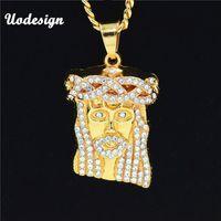 Collane ciondolo Uodesign Hip Hop Iced Out Crystal Gesù Cristo Piece Testa Faccia Pendenti Catena d'oro per gli uomini gioielli