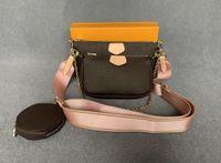 Neue Frauen Favorite Echtes Leder Mode Handtaschen Multi Pochette Zubehör Geldbörsen Blume Mini Pochette 3 stücke Crossbody Bag Umhängetaschen