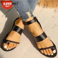 Tino Kino Mulheres Flat Ankle Buckle Verão Tanga Sandálias Gladiador Flip Flops Feminino Plano Plano Sapatos de Moda Senhoras Calçados Casuais # VM41