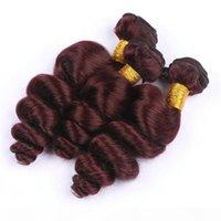 Burgundy # 99J 느슨한 웨이브 인간의 머리카락 Bundles 브라질 버진 비공개 머리카락 굵게 붉은 인간의 머리 3pcs 로트 8A 품질 저렴한 가격