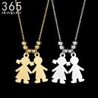 Design Edelstahl Jungenmädchen Halskette für Frauen Gold Farbe Grave Name Neckalce Valentinstag Geschenk