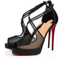 Eve Giyim Sandalet Mariacar Stiletto Topuk Çıplak Siyah Örgü Kırmızı Alt Yüksek Topuklu Pompalar Lüks Parti Elbise Seksi Peep-Toe Sandalias EU35-43