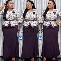 Ethnic Clothing African Clothes For Women Spring Autumn Printing Plus Size Two Pieces Sets Top + Long Skirts Suit 2XL-6XL