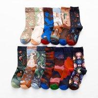 Men's Socks West Fashion Harajuku Skateboard Happy Men Oil Painting Abstract Art Cotton Funny Women Flame Creativity Novelty Long Sock