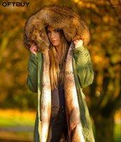 Oftbuy 2019 длинная парка Parka зимняя куртка женщины реальный меховой пальто большой натуральный воротник енота воротник теплый толстый уличный одежда верхняя одежда Survey1