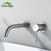 Bathroom Sink Faucets Wall Mount Nickel Basin Faucet 360 Degree Rotation Spout Cold Mixer Tap Siamese Install