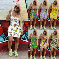 7 color womens summer dress Designer cartoon mini skirt sleeveless one piece dress nightclub plus size S-XXL ladys summer clothing free DHL