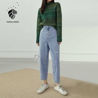 Fansilanen cintura alta rasgada jeans retas mulheres denim casual streetwear outono vintage inverno feminino tamanho azul calça 210607
