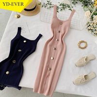 Casual Dresses Square Collar Single Breasted Knitted Dress Women Solid Sleeveless Split Camis Vestido High Waist Bodycon 80852