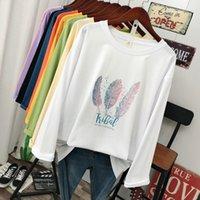Донамол плюс размер весна мода повседневная женская футболка с длинным рукавом свободно 100% хлопок мягкий пуловер Harajuku перья перьев вершины 210306