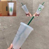 Starbucks 24oz 710ml Plastic Tumbler Reusable Clear Drinking Flat Bottom Cup Pillar Shape Lid Straw Mugs Bardian 50pcs 4442 Q2
