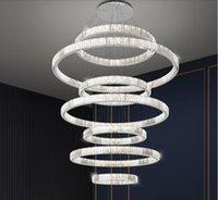 빌라 높은 천장 럭셔리 K9 크리스탈 샹들리에 링 LED 디 밍이 가능한 펜던트 라이트 라운드 골드 / 크롬 스틸 램프 데코 조명