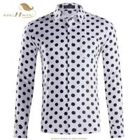 Sishion otoño casual hombre lunares camisetas manga larga algodón hombres qy0339 negro blanco más tamaño camisa bressted hombres hombres