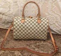 """GG """"LV"""" Louis ... Vitton YSL ... Vutton yüksek kaliteli çanta inek derisi Speedy 30 cm lüks tasarımcı sıcak çanta çanta kadın oksitleyici omuz kılıf lady moda çanta"""